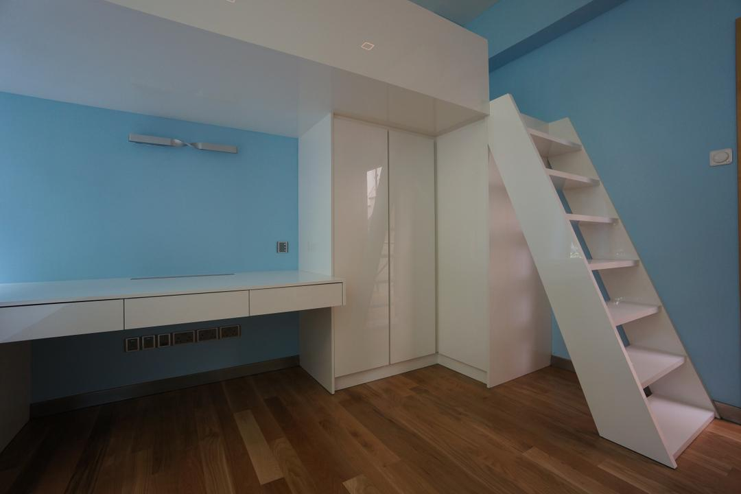 Paterson Residences, Space Atelier, Modern, Condo, Wooden Flooring, Laminated Floor, White Ladder, White Desk, Wall Mounted Desk, White Cupboard, Blue Walls, Banister, Handrail, Staircase, Hardwood, Wood