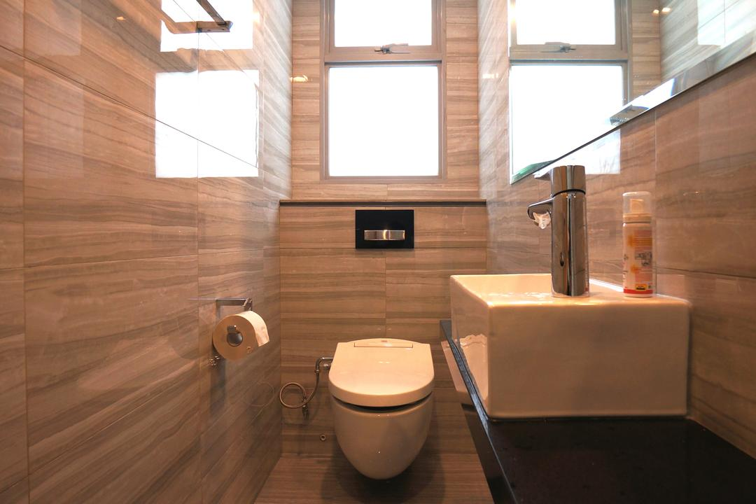 Paterson Residences, Space Atelier, Modern, Condo, Recessed Lights, Wooden Flooring, Mirror, White Basin, Toilet