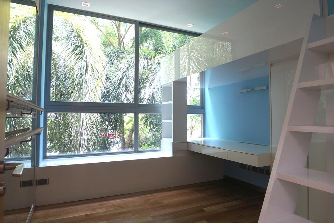 Paterson Residences, Space Atelier, Modern, Condo, Recessed Lights, Blue Walls, Wooden Flooring, Laminated Floor, White Ladder, Wall Mounted Desk, White Desk