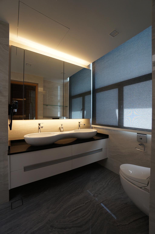 Modern, Condo, Bathroom, Paterson Residences, Interior Designer, Space Atelier, Concealed Lights, Mirror Cabinet, Mirror, White Basin, Monochrome Sink Cabinet, Sink Cabinet, Indoors, Interior Design, Sink, Door, Sliding Door, Room