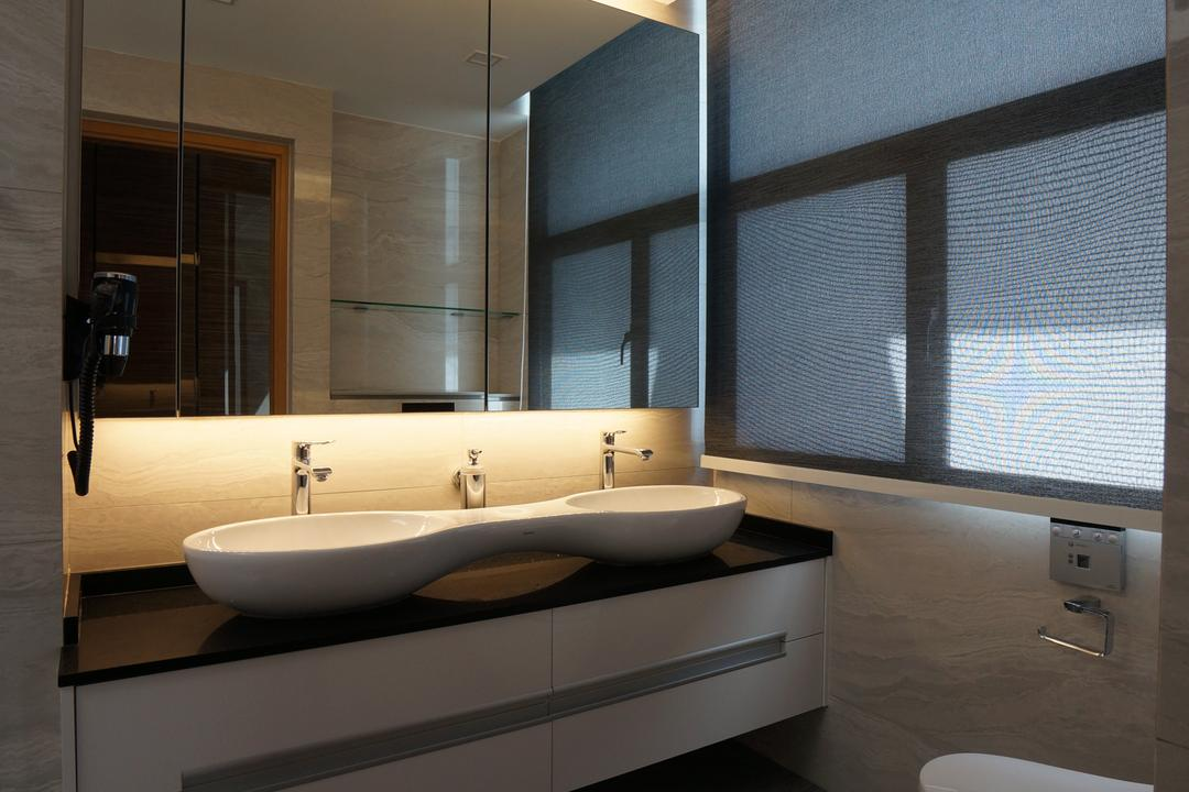 Paterson Residences, Space Atelier, Modern, Bathroom, Condo, Concealed Lights, Mirror Cabinet, Mirror, White Basin, Monochrome Sink Cabinet, Sink Cabinet, Indoors, Interior Design, Sink, Door, Sliding Door, Room
