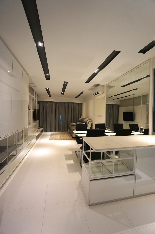 Modern, HDB, Living Room, Senja Parc View, Interior Designer, Space Atelier, Rug, Carpet, Display Unit, Mirror, Feature Wall, Curtain, White Laminate, Recessed Lighting, Recessed Light