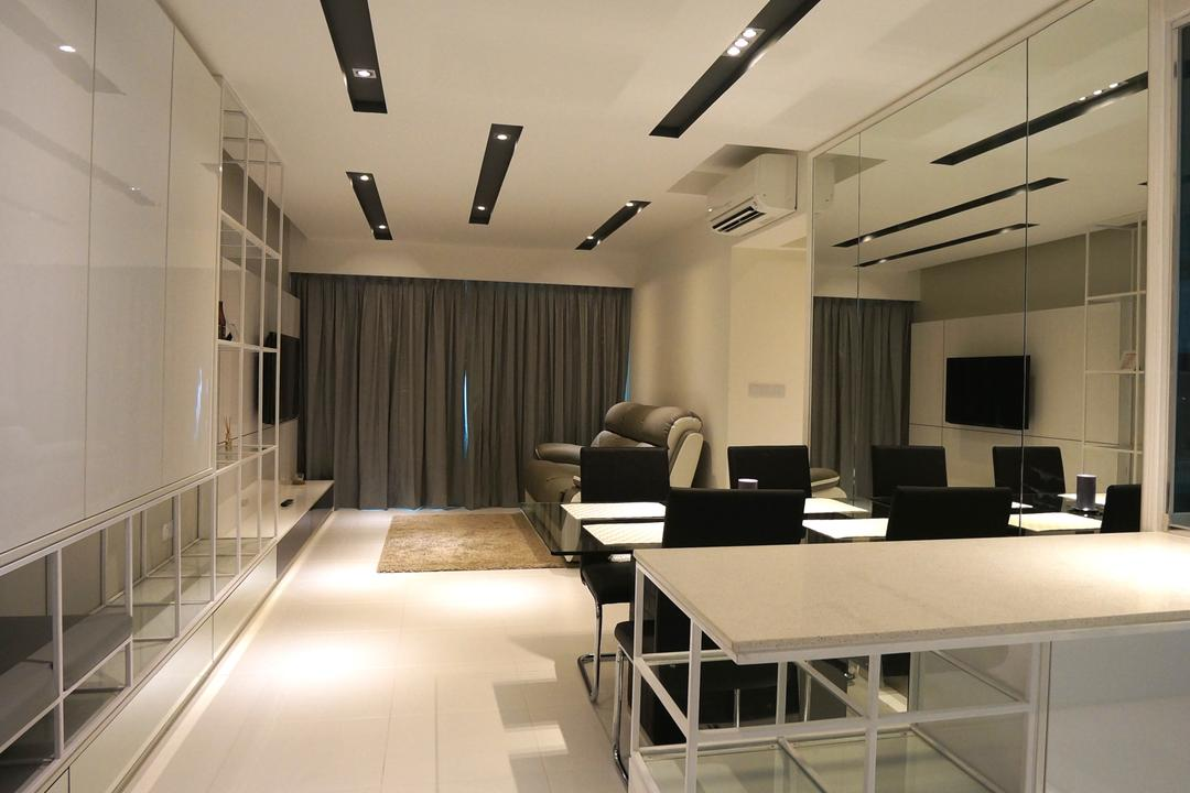 Senja Parc View, Space Atelier, Modern, Living Room, HDB, Rug, Carpet, Display Unit, Mirror, Feature Wall, Curtain, White Laminate, Recessed Lighting, Recessed Light
