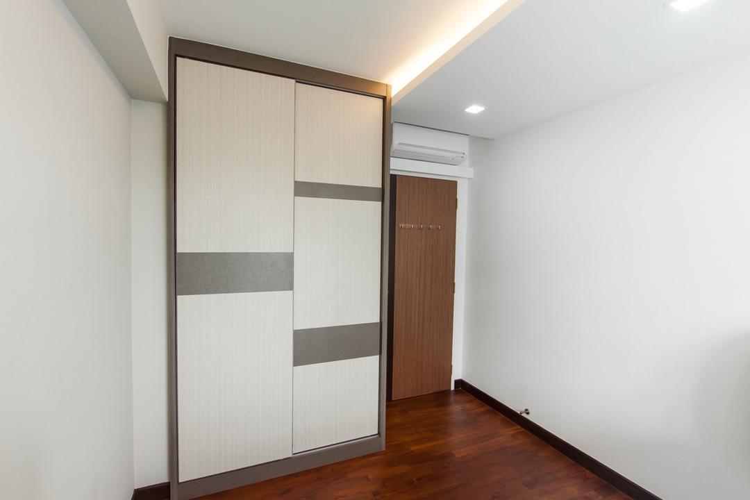 Upper Serangoon Road (Cape View), Space Atelier, Scandinavian, Bedroom, HDB, Wooden Flooring, False Ceiling, Concealed Lighting, Concealed Light, Wooden Floor, Storage, Cupboard