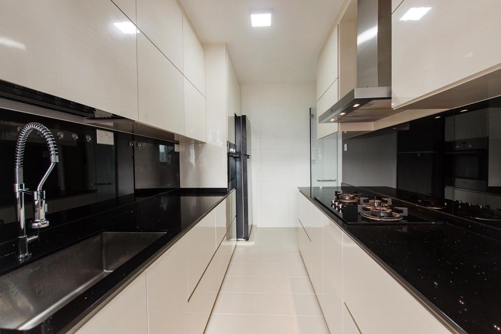 Scandinavian, HDB, Kitchen, Upper Serangoon Road (Cape View), Interior Designer, Space Atelier, Kitchen Counter Top, Countertop, Wall Mounted Storage, Wall Mounted Cabinet, Recessed Lighting, White Cabinet, Kitchen Cabinet