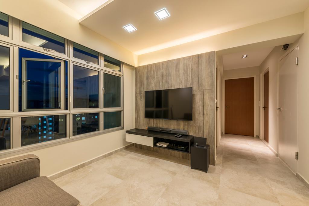 Industrial, HDB, Living Room, Fernvale Road (Block 453A), Interior Designer, Tan Studio, Flooring, Indoors, Interior Design