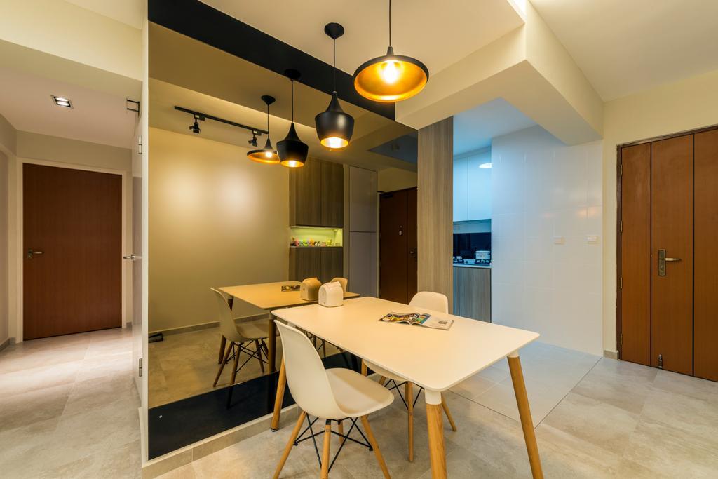 Industrial, HDB, Dining Room, Fernvale Road (Block 453A), Interior Designer, Tan Studio, Dining Table, Furniture, Table, Flooring, Plywood, Wood, Indoors, Interior Design, Room