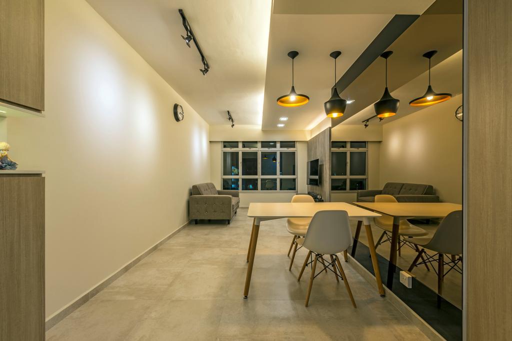 Industrial, HDB, Dining Room, Fernvale Road (Block 453A), Interior Designer, Tan Studio, Chair, Furniture, Indoors, Interior Design, Room, Dining Table, Table