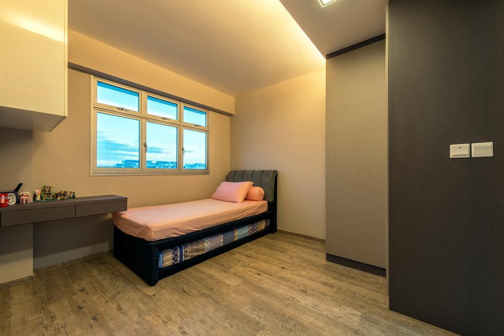 Industrial, HDB, Bedroom, Fernvale Road (Block 453A), Interior Designer, Tan Studio, Bed, Furniture, Wall