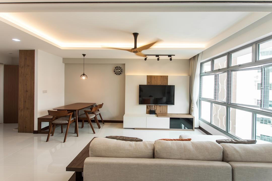Upper Serangoon Road (Cape View), Space Atelier, Scandinavian, Living Room, HDB, Concealed Lighting, Concealed Light, False Ceiling, Hanging Light, Pendant Light, Feature Wall, Wooden Dining Table, Wooden Furniture