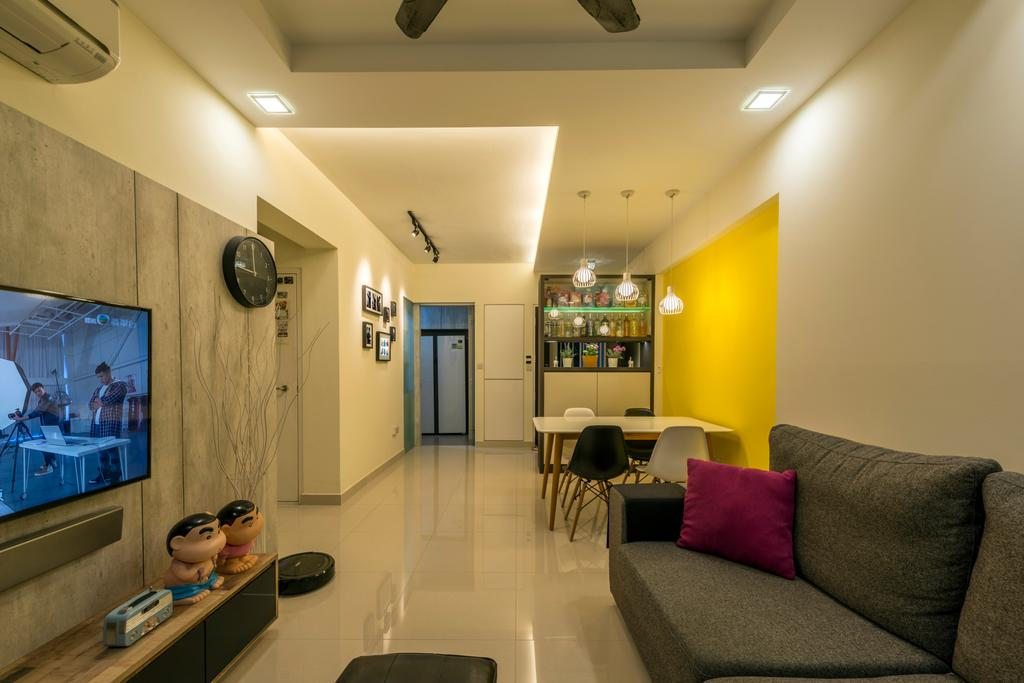 Modern, HDB, Living Room, Anchorvale Crescent, Interior Designer, Tan Studio, Contemporary, Human, People, Person, Couch, Furniture, Dining Room, Indoors, Interior Design, Room