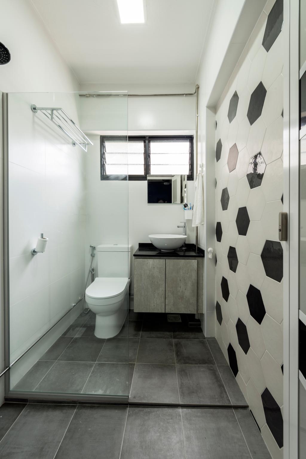 Modern, HDB, Bathroom, Yishun Ring Road, Interior Designer, Tan Studio, Industrial, Toilet, Indoors, Interior Design, Room
