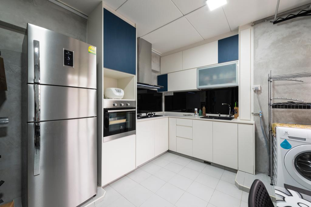 Modern, HDB, Kitchen, Yishun Ring Road, Interior Designer, Tan Studio, Industrial, Appliance, Electrical Device, Fridge, Refrigerator, Washer, Oven