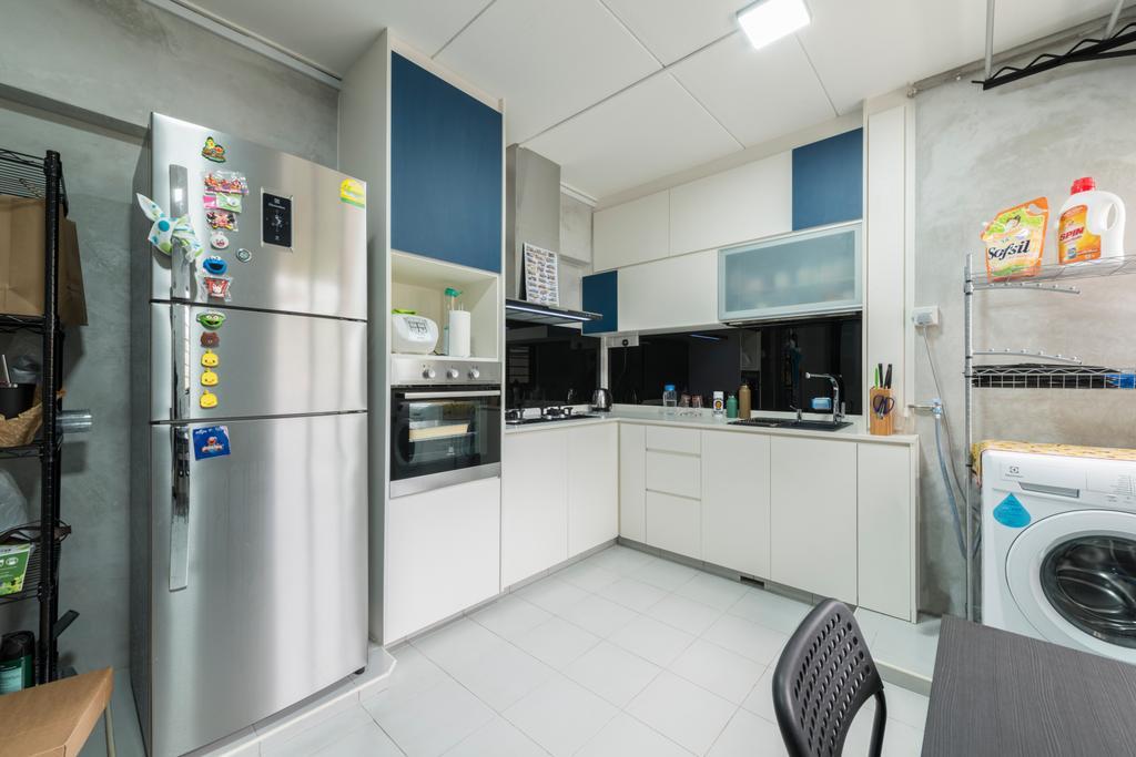 Modern, HDB, Kitchen, Yishun Ring Road, Interior Designer, Tan Studio, Industrial, Appliance, Electrical Device, Washer