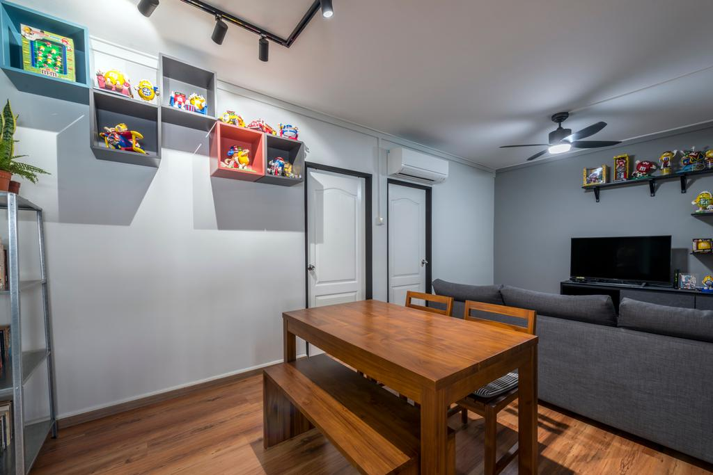 Modern, HDB, Dining Room, Yishun Ring Road, Interior Designer, Tan Studio, Industrial, Couch, Furniture, Dining Table, Table, Electronics, Entertainment Center, Home Theater, Indoors, Interior Design, Room