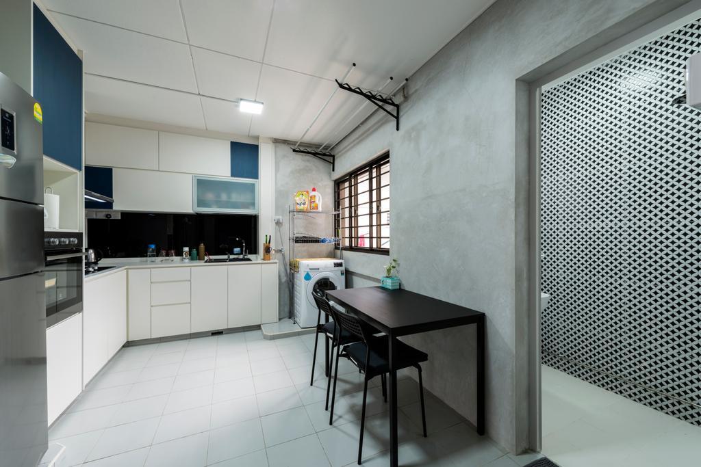 Modern, HDB, Kitchen, Yishun Ring Road, Interior Designer, Tan Studio, Industrial, Dining Table, Furniture, Table, Chair