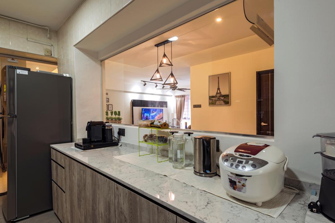 Anchorvale Road, Tan Studio, Modern, Kitchen, HDB, Indoors, Interior Design, Room, Cooker, Appliance, Electrical Device, Fridge, Refrigerator