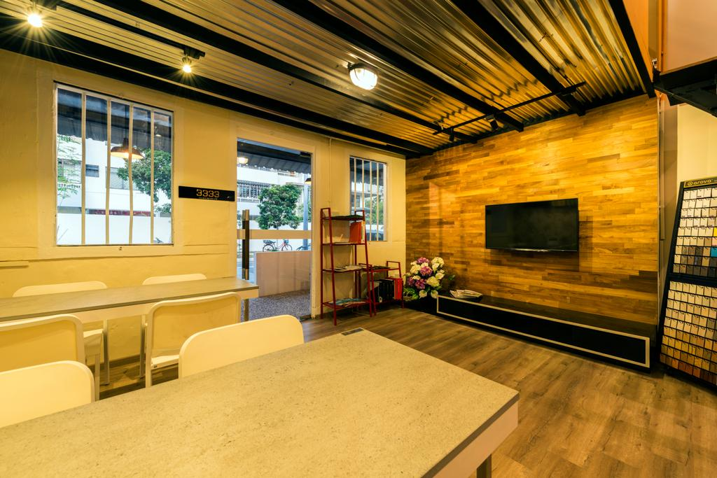 Chiku, Commercial, Interior Designer, Tan Studio, Industrial, Fireplace, Hearth, Plywood, Wood
