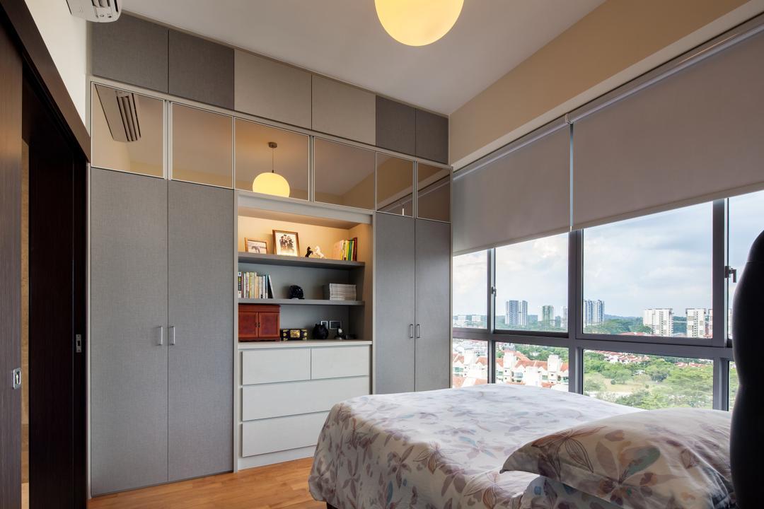 The Hiller, Weiken.com, Modern, Bedroom, Condo, Bed, Furniture, Home Decor, Quilt, Window, Bookcase, Shelf, Indoors, Interior Design