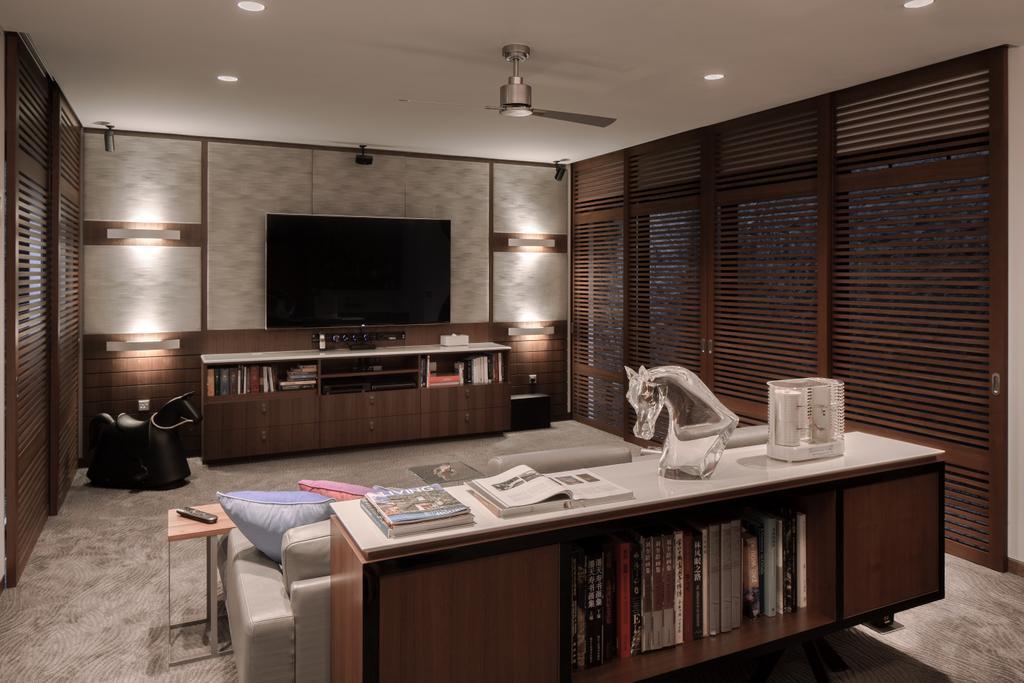 Modern, Landed, Bedroom, Kingmeads Roads, Interior Designer, Weiken.com, Couch, Furniture, Electronics, Entertainment Center, Bookcase