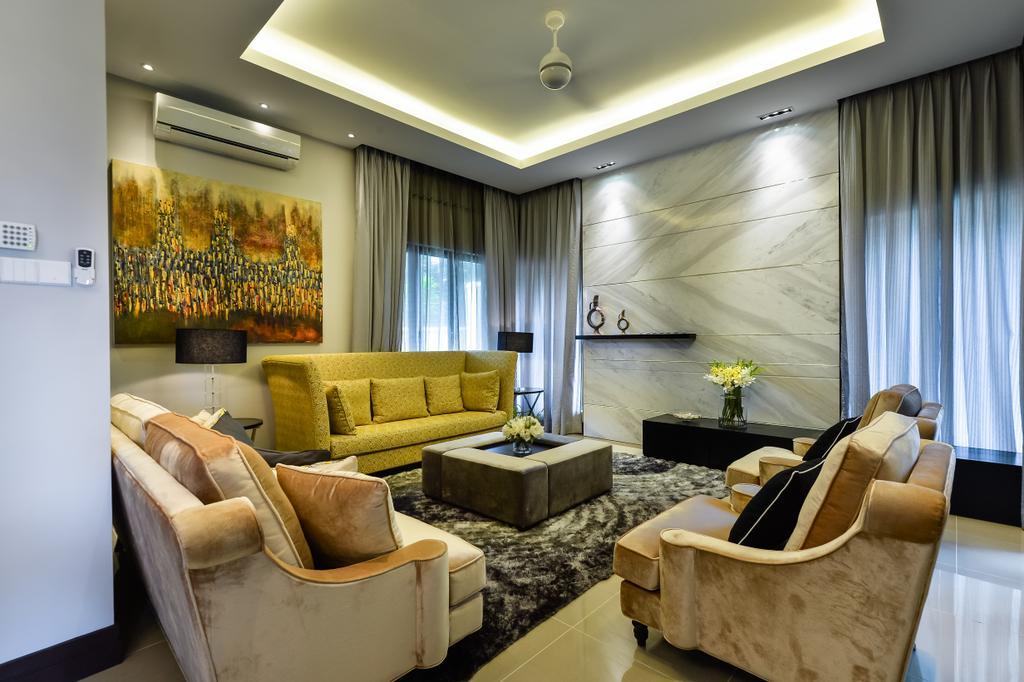 Contemporary, Landed, Living Room, Kiara View, Interior Designer, Hoe & Yin Design Studio, Couch, Furniture, Plywood, Wood, Indoors, Interior Design