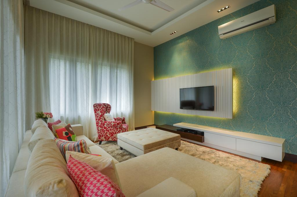 Contemporary, Landed, Living Room, Kiara View, Interior Designer, Hoe & Yin Design Studio, Indoors, Interior Design, Room, Bedroom, Apartment, Building, Housing