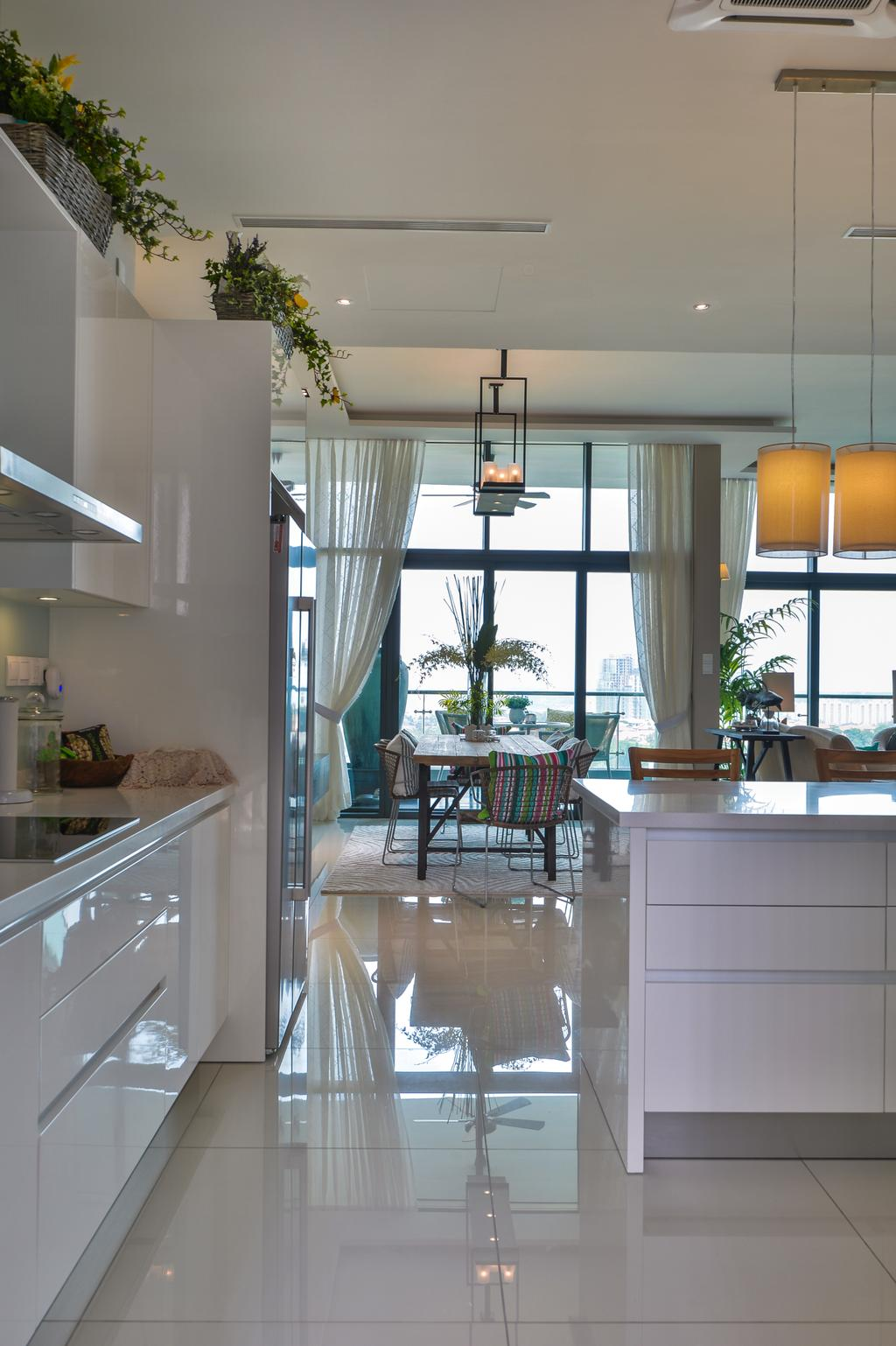 Contemporary, Condo, Kitchen, Tropicana Grande, Interior Designer, Hoe & Yin Design Studio, Flora, Jar, Plant, Potted Plant, Pottery, Vase, Dining Room, Indoors, Interior Design, Room, Patio
