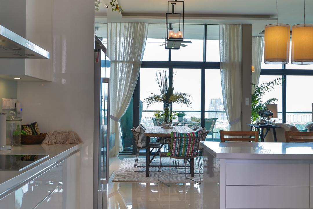 Tropicana Grande, Hoe & Yin Design Studio, Contemporary, Kitchen, Condo, Flora, Jar, Plant, Potted Plant, Pottery, Vase, Dining Room, Indoors, Interior Design, Room, Patio
