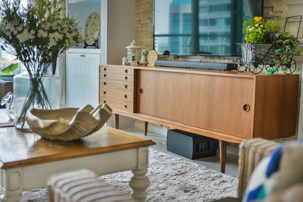 Contemporary, Condo, Living Room, Tropicana Grande, Interior Designer, Hoe & Yin Design Studio, Furniture, Flora, Jar, Plant, Potted Plant, Pottery, Vase