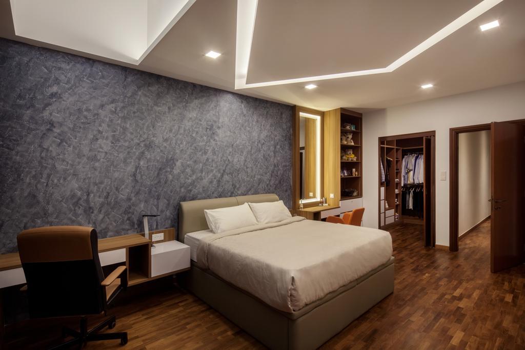 Modern, Condo, Bedroom, Jalan Sinar Bulan, Interior Designer, Weiken.com, Chair, Furniture, Indoors, Interior Design, Room, Bed