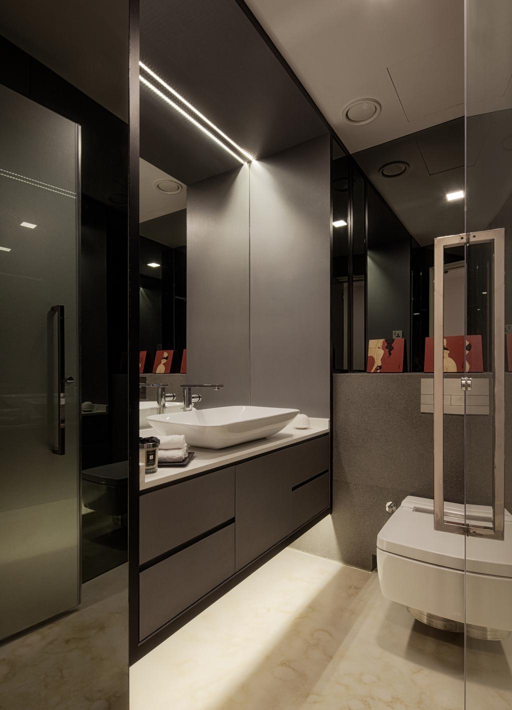 Modern, Condo, Bathroom, Gallop Gables, Interior Designer, Weiken.com, Indoors, Interior Design, Room, Door, Sliding Door