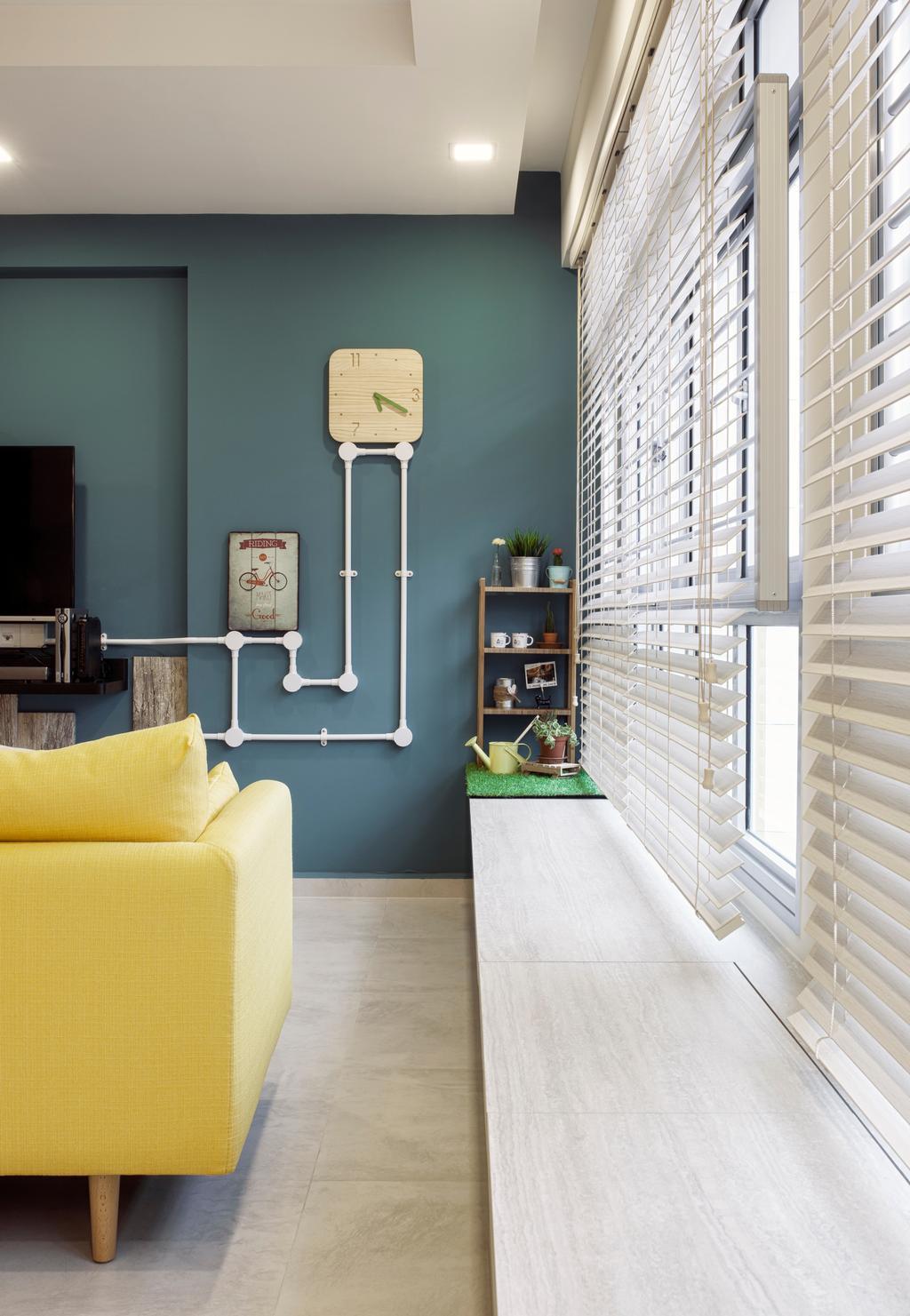 Scandinavian, HDB, Living Room, Choa Chu Kang Avenue 5, Interior Designer, Weiken.com, Shelf, Couch, Furniture