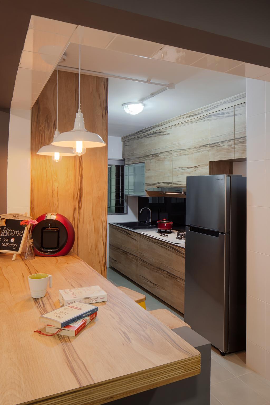 Scandinavian, HDB, Kitchen, Choa Chu Kang Avenue 5, Interior Designer, Weiken.com, Appliance, Electrical Device, Fridge, Refrigerator, Building, Housing, Indoors