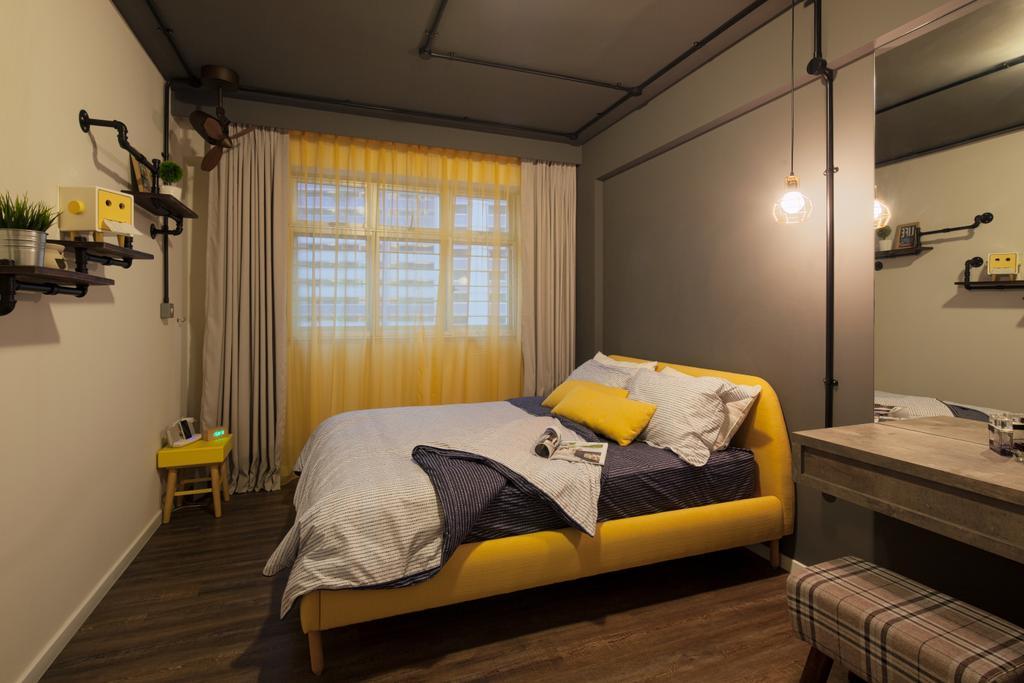 Scandinavian, HDB, Bedroom, Choa Chu Kang Avenue 5, Interior Designer, Weiken.com, Bed, Furniture, Light Fixture, Appliance, Electrical Device, Oven