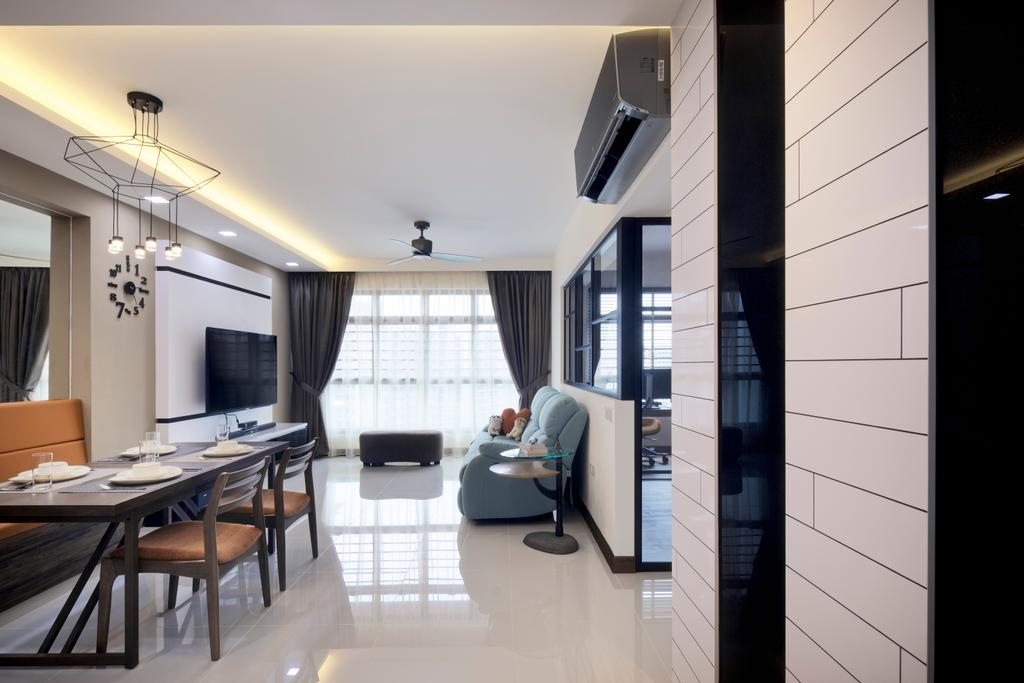 Modern, HDB, Living Room, Upper Serangoon View, Interior Designer, Weiken.com, Dining Table, Furniture, Table, Chair, Indoors, Office