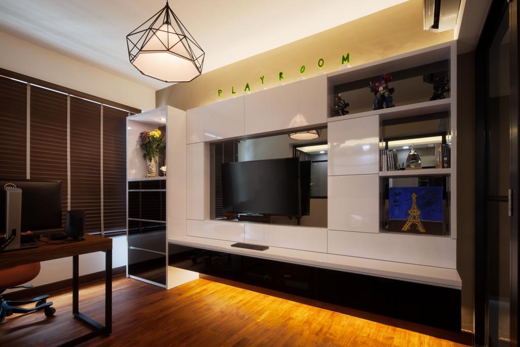 Modern, HDB, Study, Upper Serangoon View, Interior Designer, Weiken.com, Indoors, Interior Design, Electronics, Entertainment Center, Home Theater