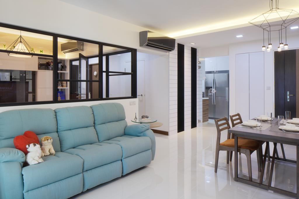 Modern, HDB, Living Room, Upper Serangoon View, Interior Designer, Weiken.com, Couch, Furniture, Dining Table, Table, Light Fixture, Indoors, Room, Chair