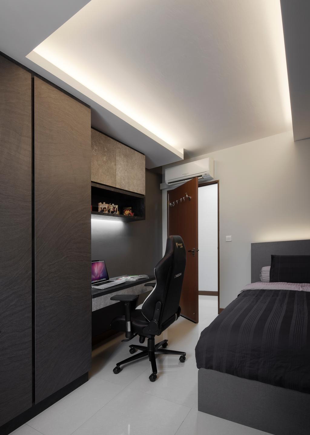 Modern, Condo, Study, Fajar Road, Interior Designer, Weiken.com, Chair, Furniture, Computer, Electronics, Laptop, Pc, Couch, Bedroom, Indoors, Interior Design, Room