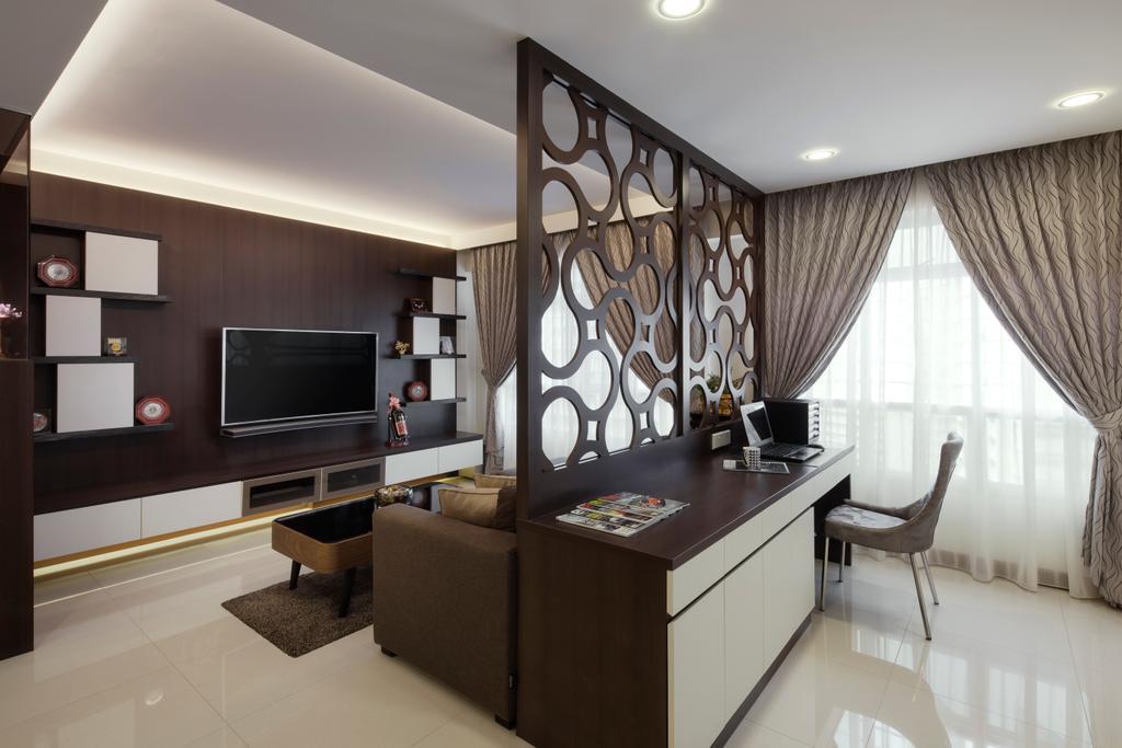 Modern, Condo, Living Room, Fajar Road, Interior Designer, Weiken.com, Indoors, Room, Electronics, Entertainment Center