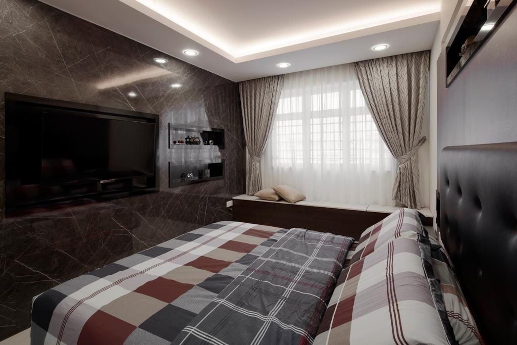Modern, Condo, Bedroom, Fajar Road, Interior Designer, Weiken.com, Electronics, Entertainment Center, Home Theater, Indoors, Room, Bed, Furniture