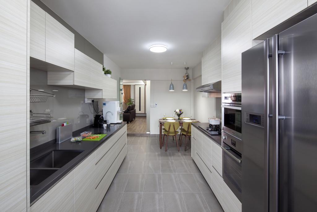 Transitional, HDB, Kitchen, Clementi (Block 358), Interior Designer, Weiken.com, Appliance, Electrical Device, Fridge, Refrigerator, Corridor