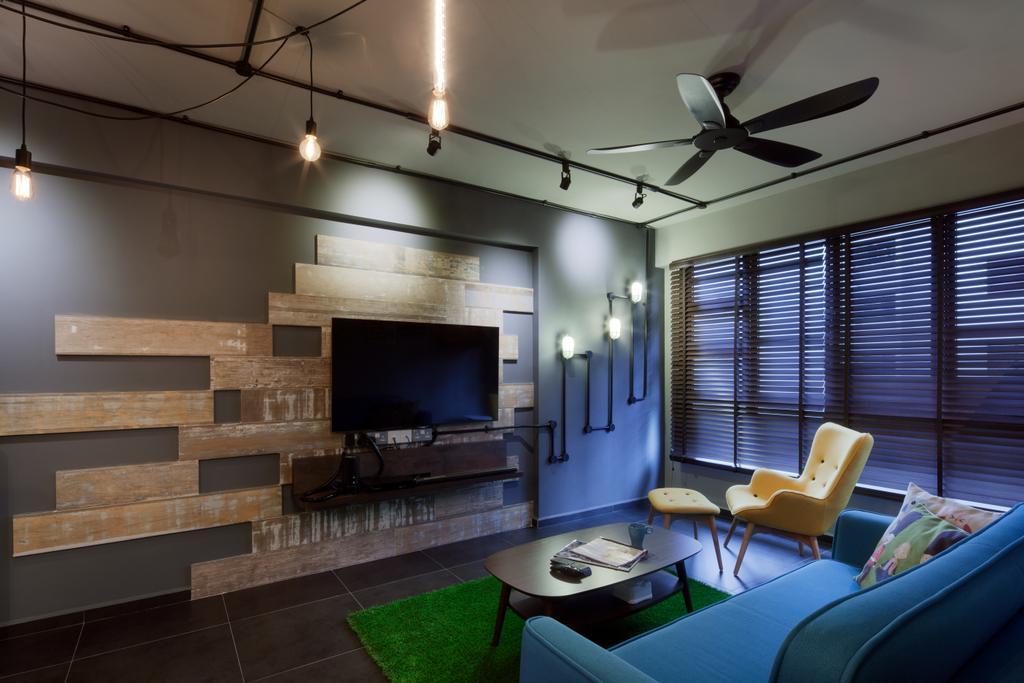 Industrial, HDB, Living Room, Yishun Street 31, Interior Designer, Weiken.com, Chair, Furniture, Indoors, Office, Electronics, Entertainment Center