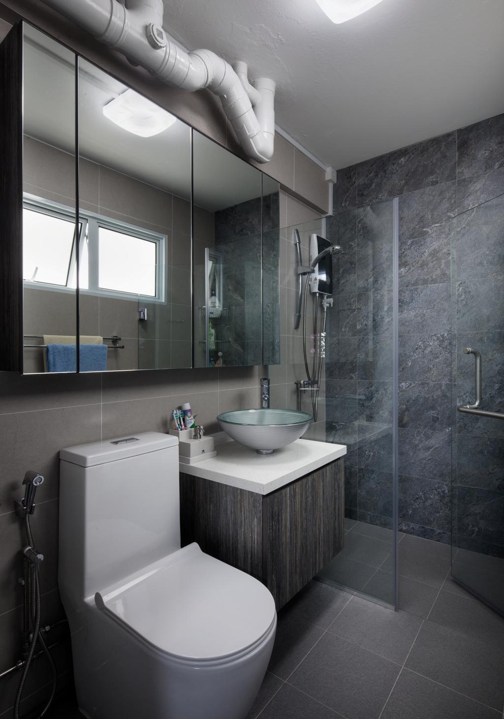 Transitional, HDB, Bathroom, Simei Street, Interior Designer, Weiken.com, Indoors, Interior Design, Room