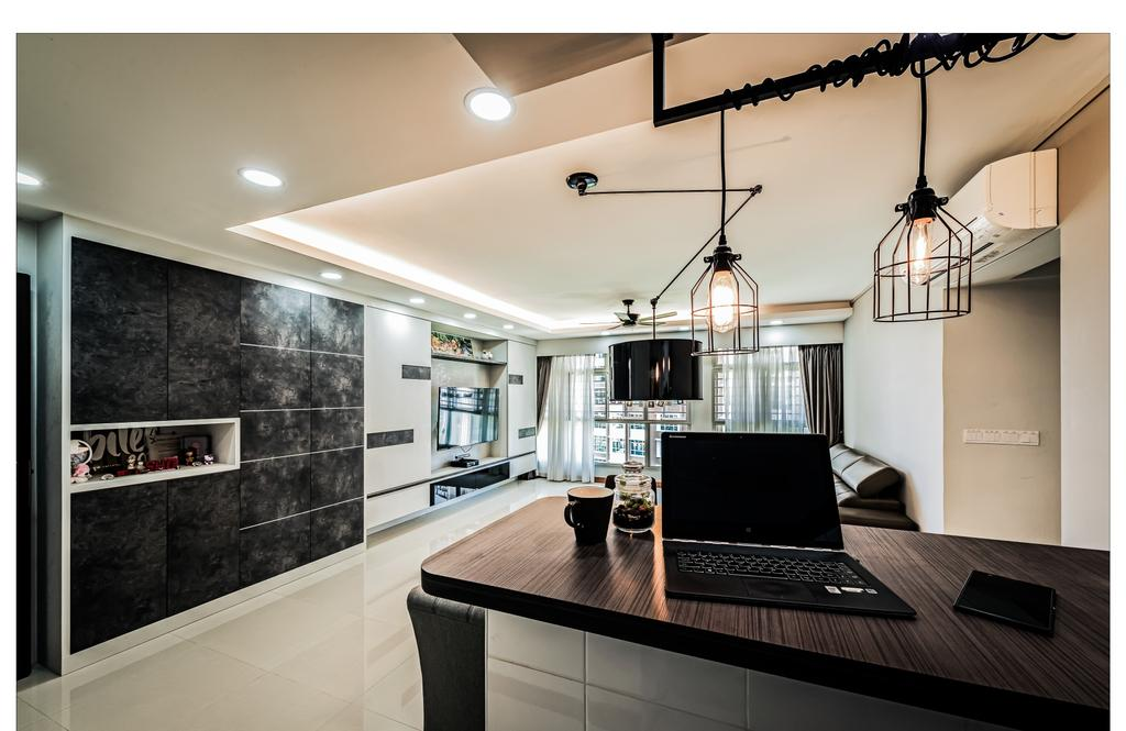 Contemporary, HDB, Living Room, Punggol Waterway, Interior Designer, Faith Interior Design