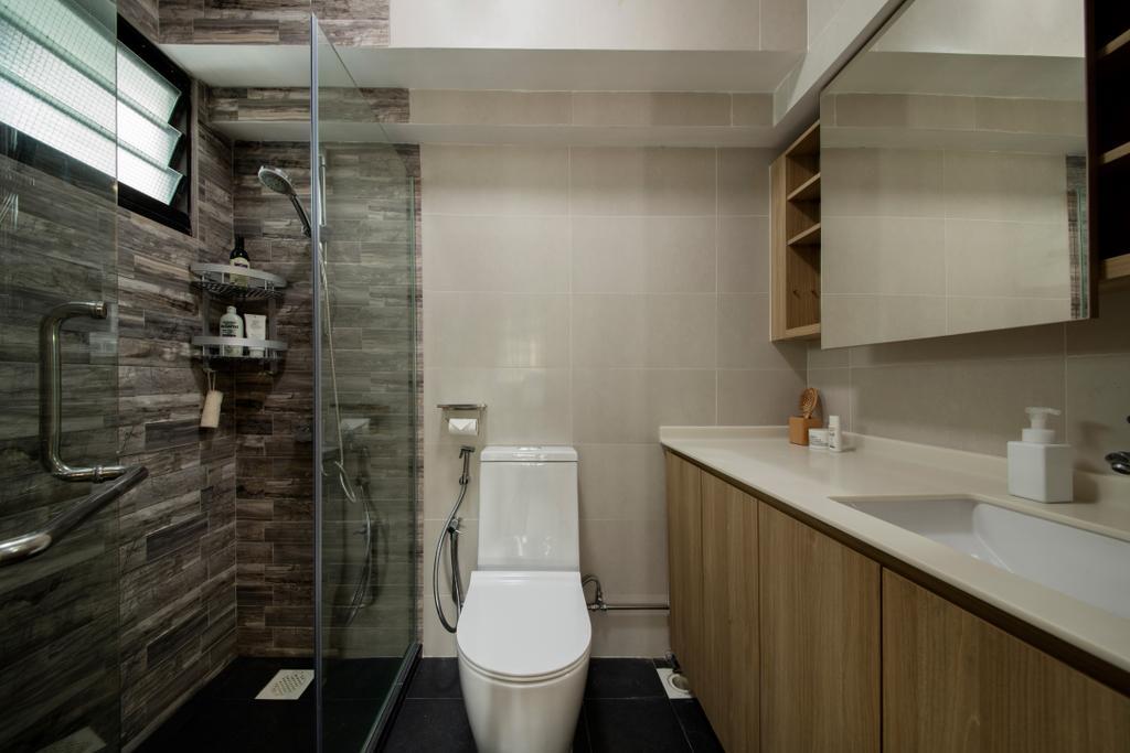 Scandinavian, HDB, Bathroom, Ang Mo Kio, Interior Designer, Edge Interior, Minimalistic, Indoors, Interior Design, Room