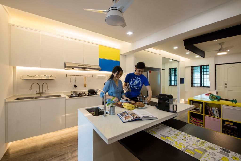 Eclectic, HDB, Kitchen, Simei Street 1, Interior Designer, Starry Homestead, Human, People, Person, Indoors, Interior Design, Room, Sink, Flooring