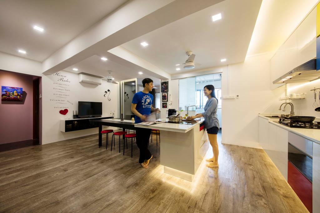 Eclectic, HDB, Living Room, Simei Street 1, Interior Designer, Starry Homestead, Flooring, Sink, Dining Table, Furniture, Table