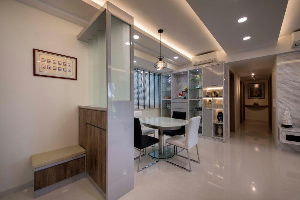 Modern, Condo, Dining Room, Q Bay Residence, Interior Designer, Starry Homestead, Dining Table, Furniture, Table, Lighting