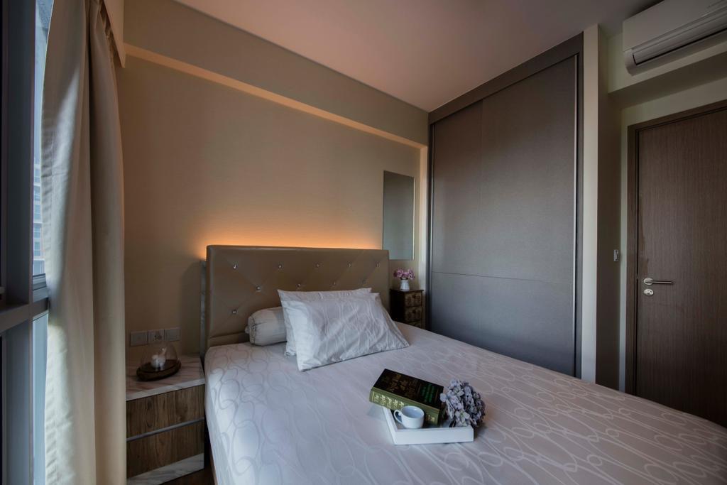 Modern, Condo, Bedroom, Q Bay Residence, Interior Designer, Starry Homestead, Molding, Indoors, Interior Design, Room, Corridor