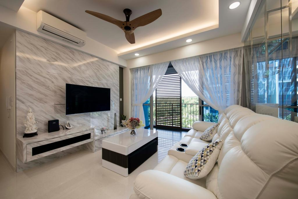 Modern, Condo, Living Room, Q Bay Residence, Interior Designer, Starry Homestead, Couch, Furniture, Sink, Indoors, Interior Design, Spa, Lighting